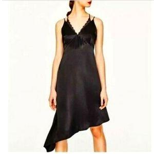 ZARA- Black Asymmetrical Slip Dress